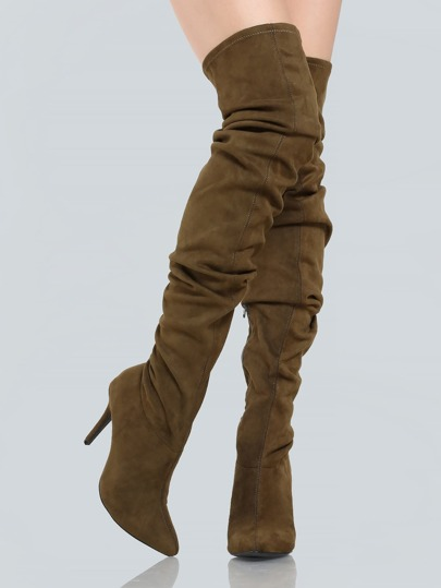 Ruched Faux Suede Thigh Highs OLIVE
