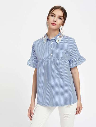 Embroidered Collar Half Placket Ruffle Sleeve Smock Blouse