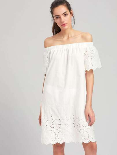 Off Shoulder Eyelet Embroidered Scalloped Dress
