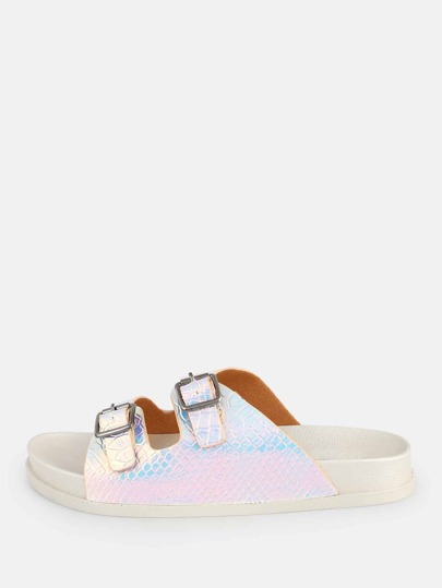 Holograpic Double Buckle Slides WHITE