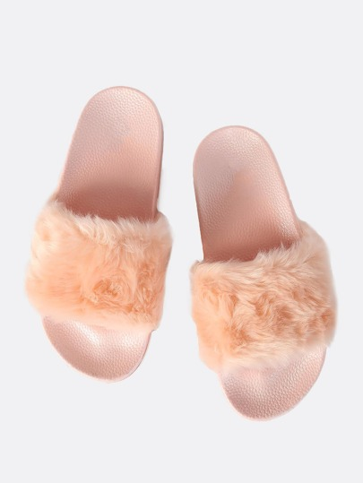 Furry Faux Fur Slides PINK