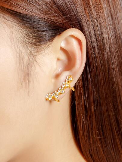 Rhinestone Butterfly Design Ear Cuff 1pcs