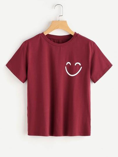 Smiley Face Print T-shirt