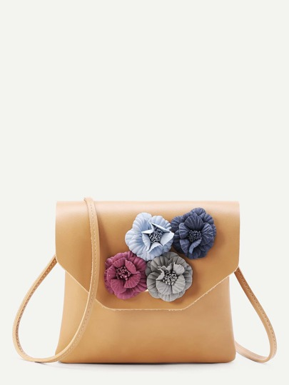 Flower Embellished PU Clutch Bag