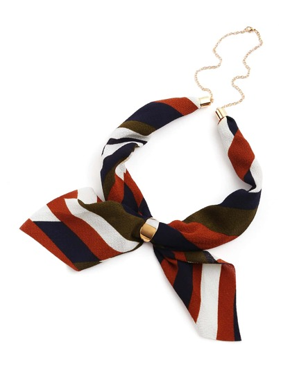Striped Print Neckerchief With Chain