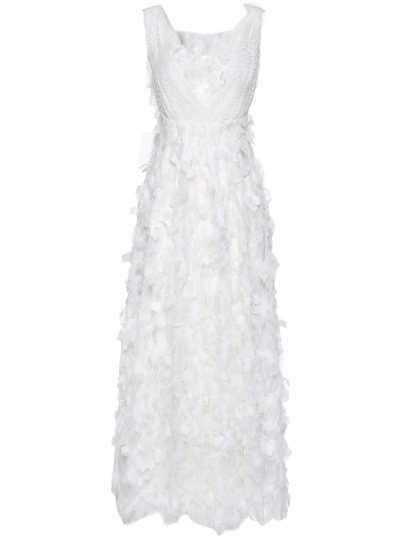 Boat Neck Backless Feathers Applique Dress