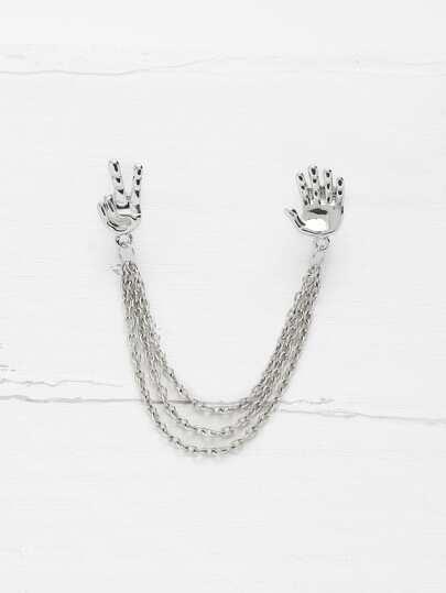 Palm Design Ear Cuff 1pcs With Chain