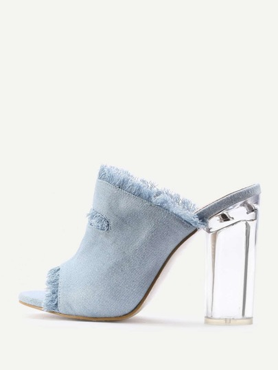 Raw Trim Denim Block Heeled Sandals