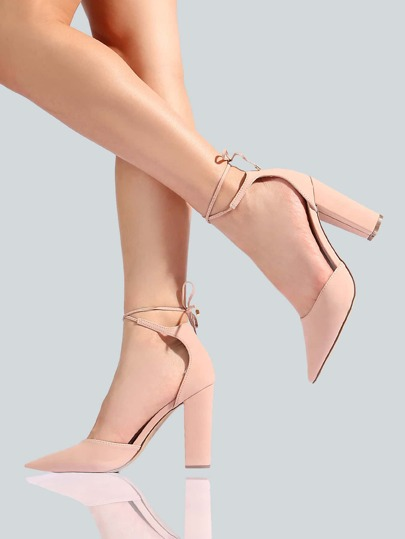 Nubuck Ankle Wrap Heels BLUSH