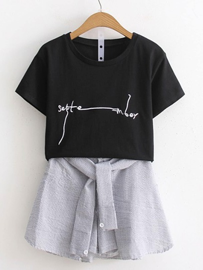 Tee-shirt & Jupe-shorts avec nœud