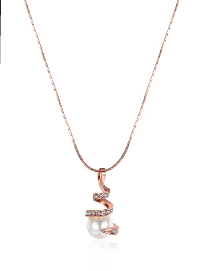 Rhinestone Wrap Pendant Necklace With Faux Pearl