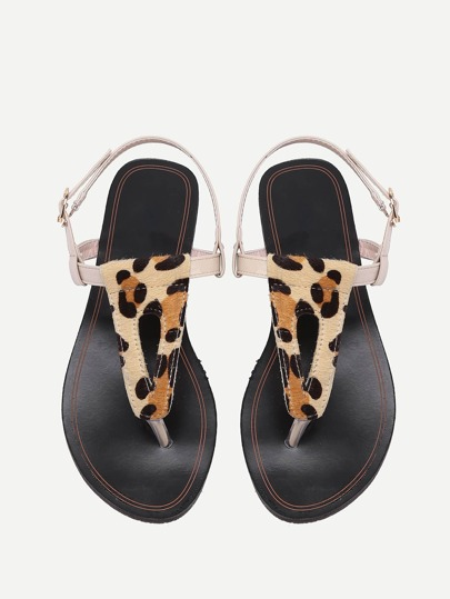 Faux Fur Embellished Toe Post Leopard Strappy Sandals