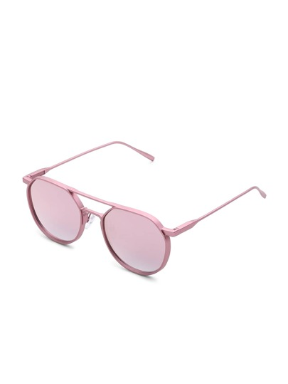 Double Bridge Flat Lens Sunglasses
