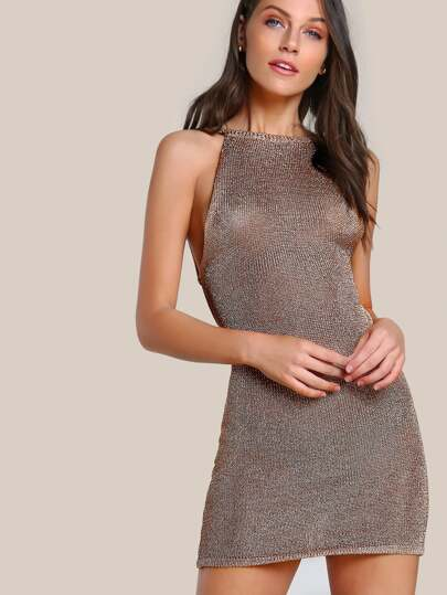 Netted Metallic Dress ROSE GOLD