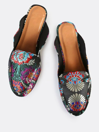 Printed Backless Loafers BLACK