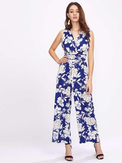 Allover Florals Crisscross Tie Back Wide Leg Jumpsuit