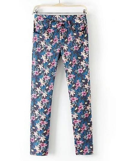 Floral Print Slim Pants