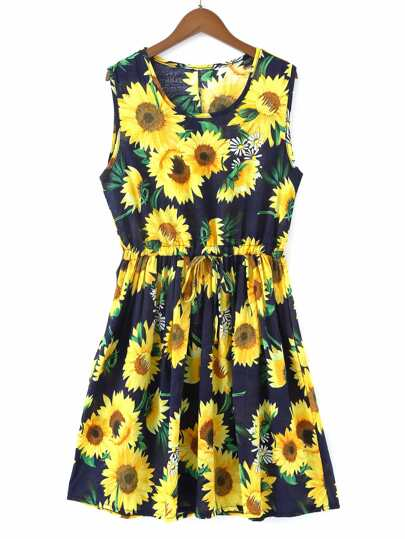 Allover Sunflower Print Swing Dress