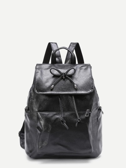 Bow Tie Detail Pocket Front PU Backpack