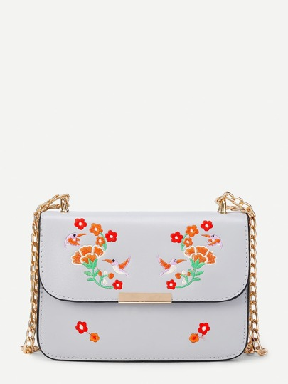 Flower And Bird Embroidery Crossbody Chain Bag