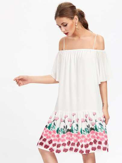 Botanical Print Tiered Hem Dress