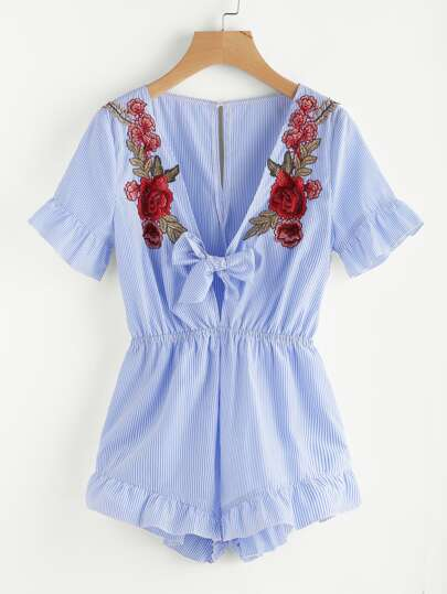 Embroidered Flower Patch Plunging Knot Front Frilled Romper