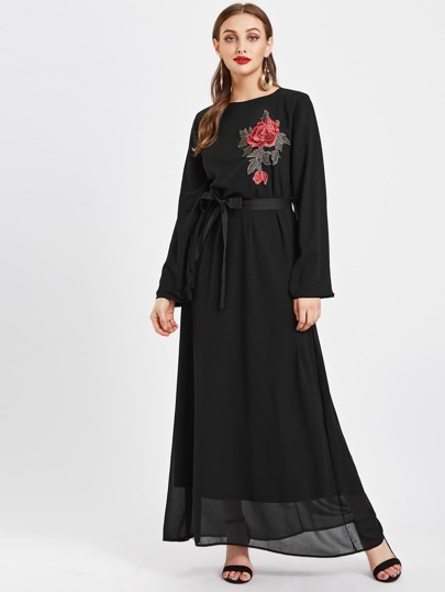Embroidered Applique Chiffon Kaftan Dress