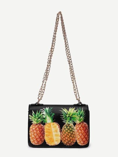 Sac bandoulière imprimé des ananas en PU