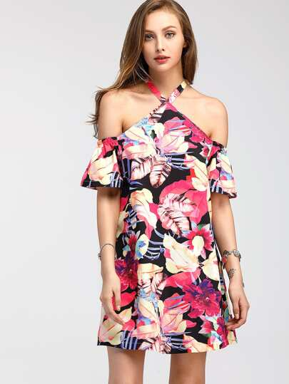 Random Florals Tie Detail Dress