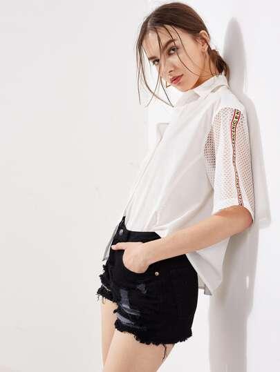 Модная рубашка с сетчатым рукавом