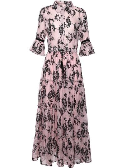 Bell Sleeve Drawstring Print Flounce Dress