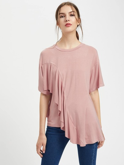 Drop Shoulder Frill Asymmetrical Hem Tee
