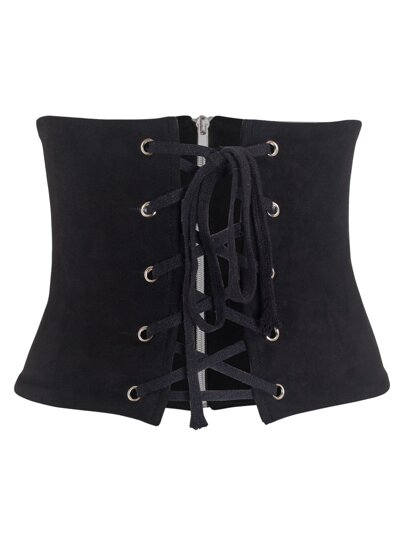 Suede Lace Up Zipper Back Corset Belt