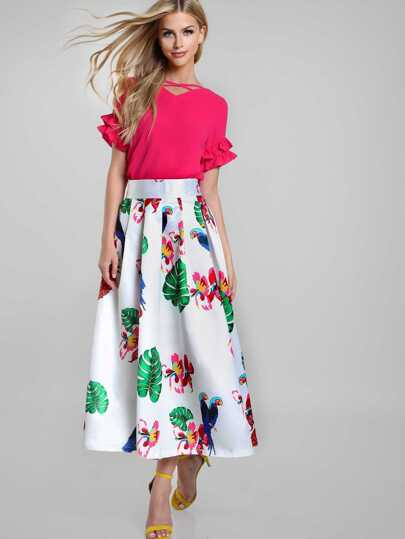 Parrot Tropical Print Box Pleated Skirt
