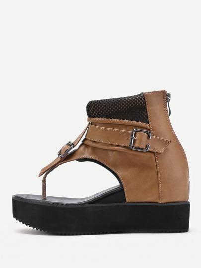 Mesh Detail Toe Post Wedge Sandals