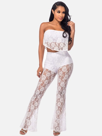 See-Through Frill Layered Bandeau Top With Flare Pants