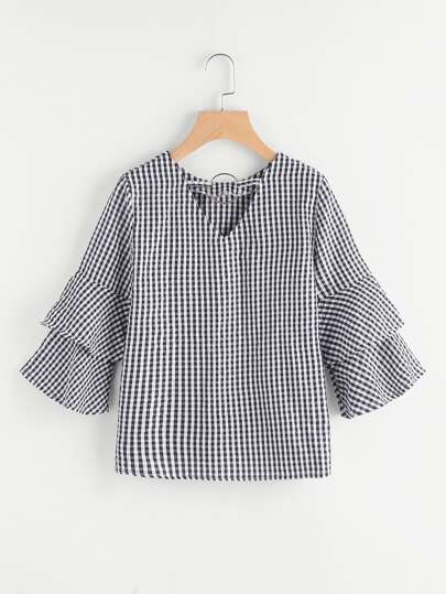 O Ring Detail Two Layer Ruffle Sleeve Checkered Top