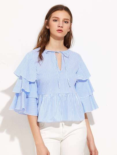 V Notch Tie Neck Layered Sleeve Pinstripe Top