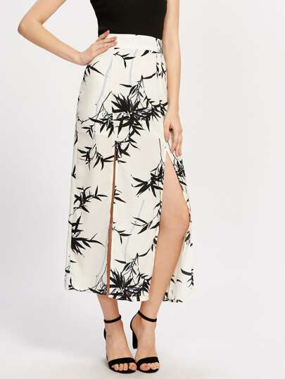Leaf Print M-Slit Skirt