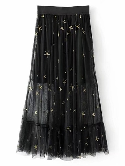 Jupe brodée des étoiles à maille