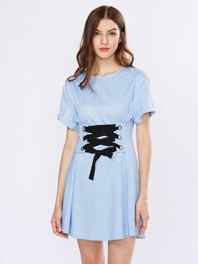 Lace Up Corset A Line Dress