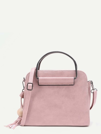 Tassel Detail PU Shoulder Bag With Handle