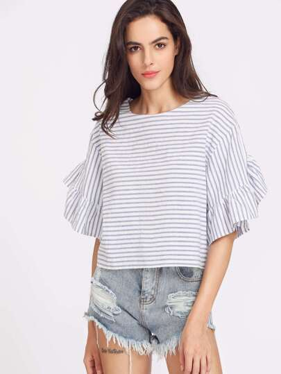 Drop Shoulder Frill Sleeve Striped Boxy Top