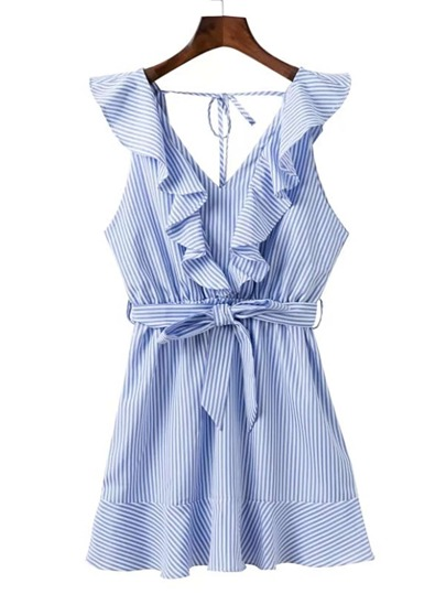 Ruffle Trim Tie Back Bow Tie Waist Dress