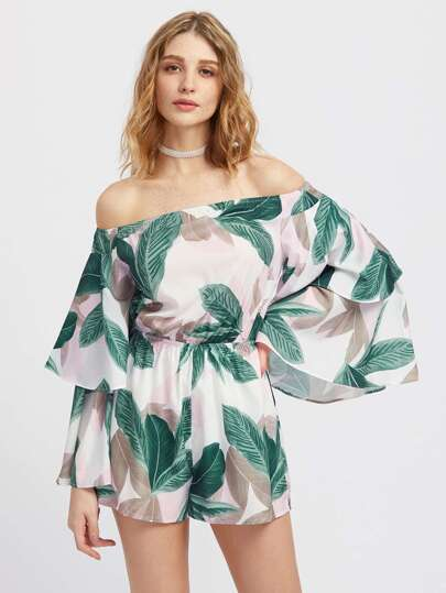 Exaggerated Layered Sleeve Palm Leaf Print Bardot Romper