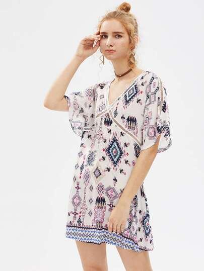 V-Neckline Tribal Print Dress