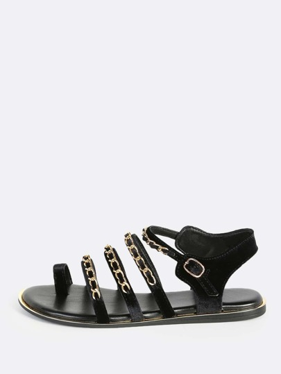 Quadruple Chain Sandals BLACK