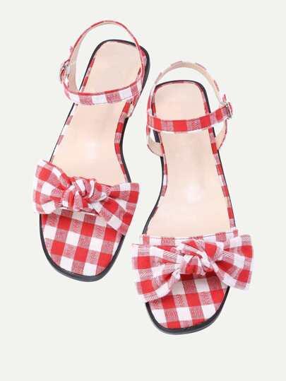 Bow Tie Design Grid Flat Sandal