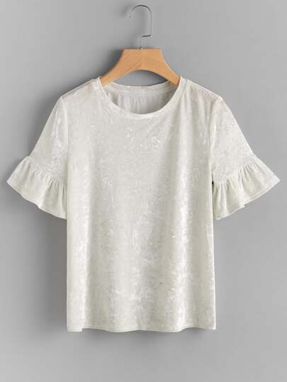 Trumpet Sleeve Crushed Velvet Tee