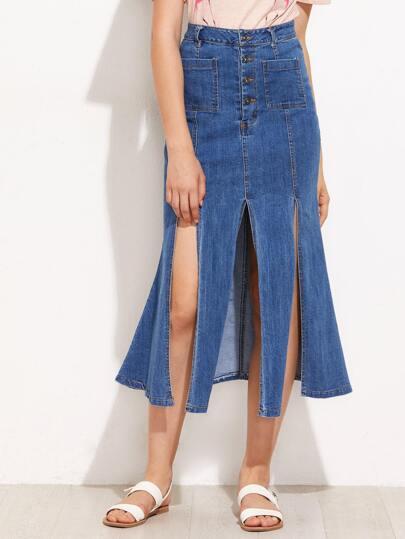 Button Fly Slit Paneled Flared Denim Skirt